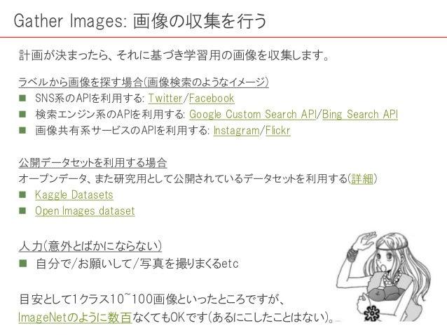 ラベルから画像を探す場合(画像検索のようなイメージ)  SNS系のAPIを利用する: Twitter/Facebook  検索エンジン系のAPIを利用する: Google Custom Search API/Bing Search API ...