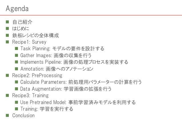 Agenda  自己紹介  はじめに  鉄板レシピの全体構成  Recipe1: Survey  Task Planning: モデルの要件を設計する  Gather Images: 画像の収集を行う  Implements Pi...