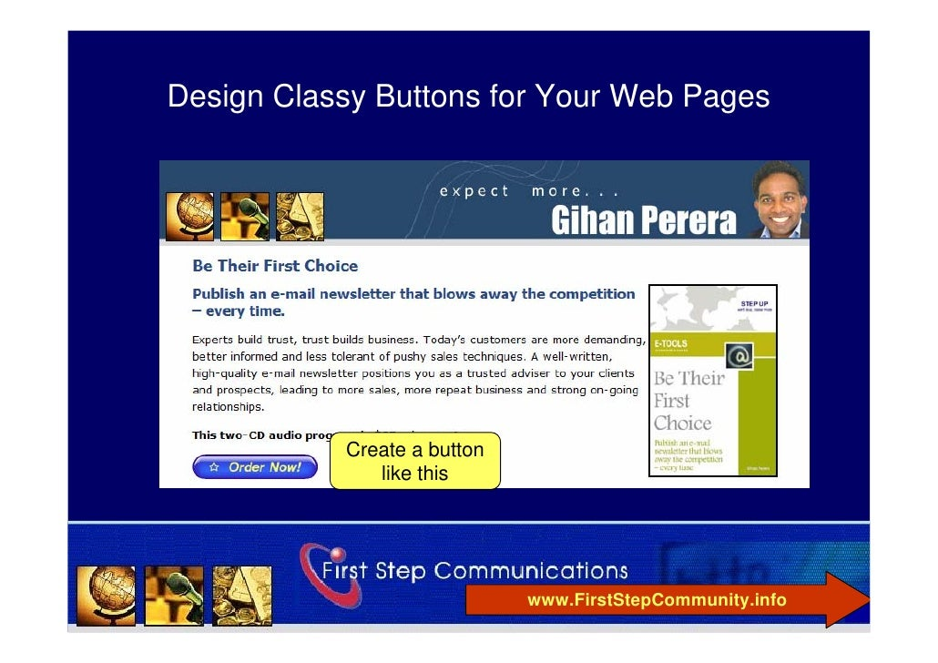 Design Classy Buttons for Your Web Pages                Create a button               like this                           ...
