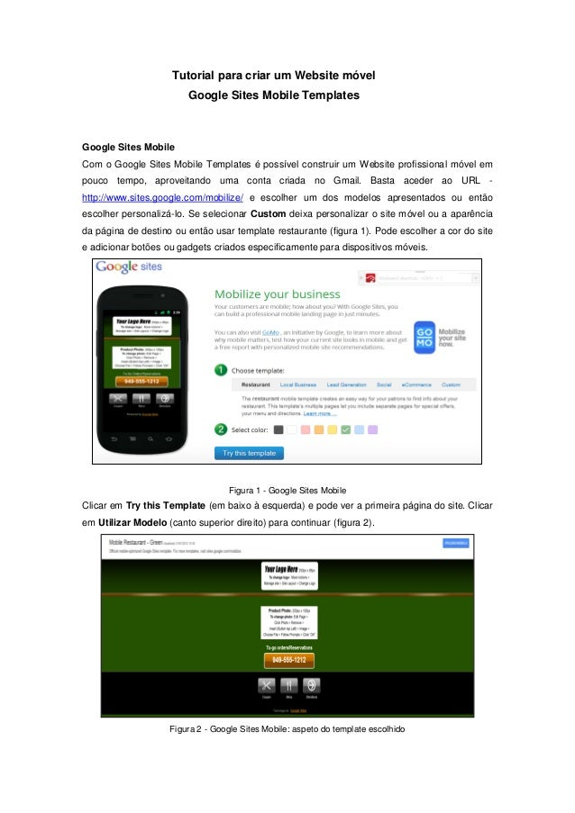 Tutorial para criar um Website móvel                         Google Sites Mobile TemplatesGoogle Sites MobileCom o Google ...