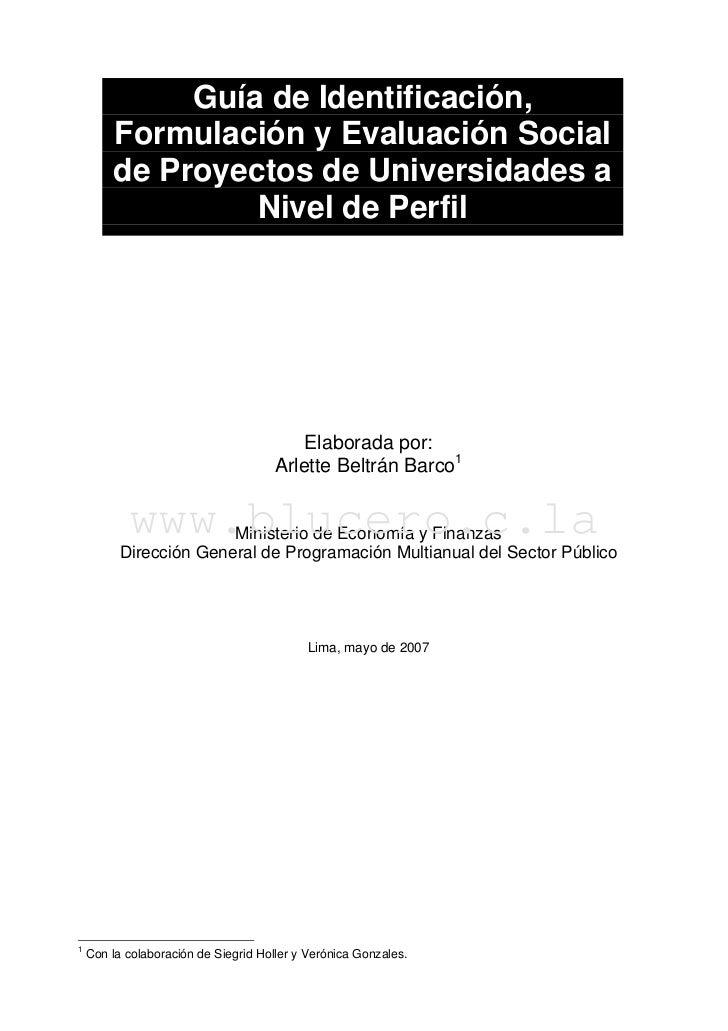 Guía de Identificación,        Formulación y Evaluación Social        de Proyectos de Universidades a                 Nive...
