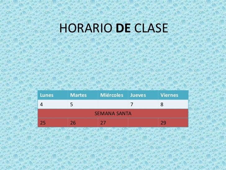 HORARIO DE CLASE<br />