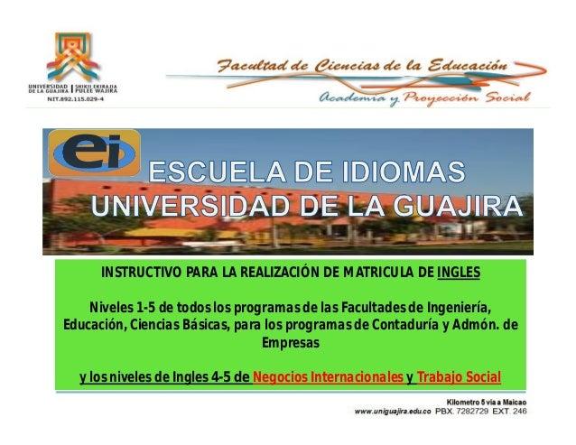 INSTRUCTIVO PARA LA REALIZACIÓN DE MATRICULA DE INGLES    Niveles 1-5 de todos los programas de las Facultades de Ingenier...