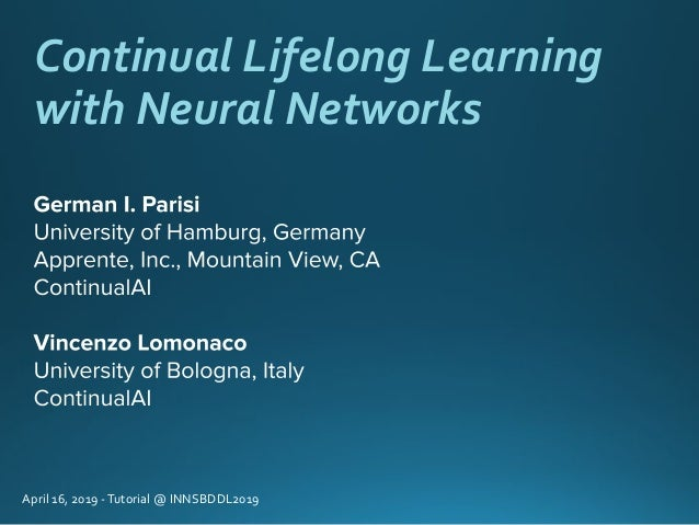 Continual Lifelong Learning with Neural Networks April 16, 2019 -Tutorial @ INNSBDDL2019
