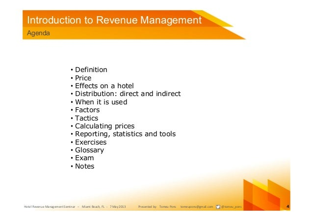 Tutorial introduction to revenue management for hotels