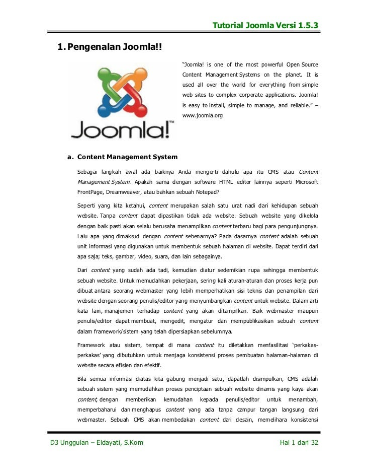 "Tutorial Joomla Versi 1.5.3  1. Pengenalan Joomla!!                                                   ""Joomla! is one of t..."