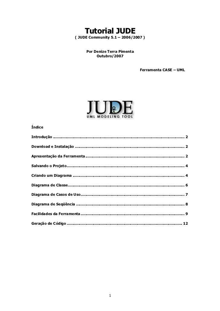 Tutorial JUDE                                   ( JUDE Community 5.1 – 2006/2007 )                                        ...