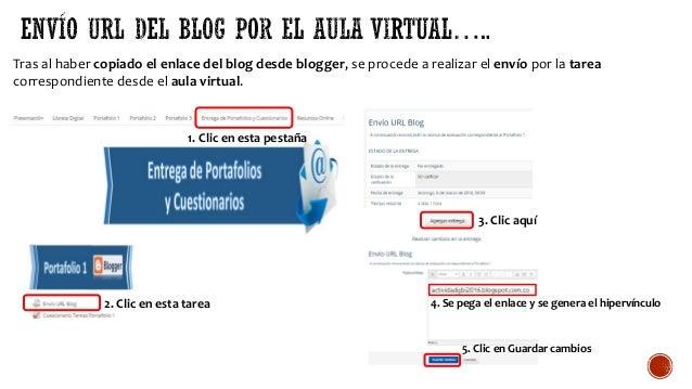 Tras al haber copiado el enlace del blog desde blogger, se procede a realizar el envío por la tarea correspondiente desde ...