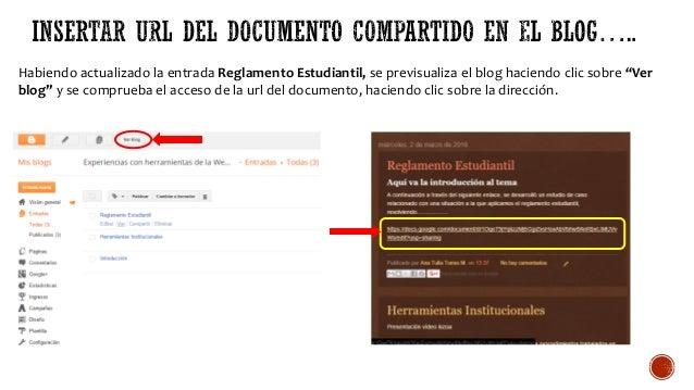 """Habiendo actualizado la entrada Reglamento Estudiantil, se previsualiza el blog haciendo clic sobre """"Ver blog"""" y se compru..."""