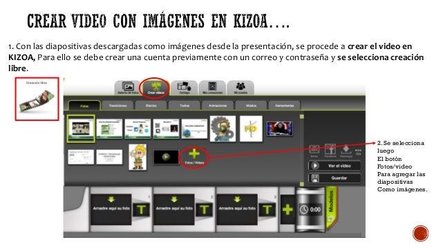 1. Con las diapositivas descargadas como imágenes desde la presentación, se procede a crear el video en KIZOA, Para ello s...
