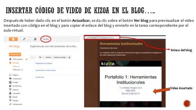Después de haber dado clic en el botón Actualizar, se da clic sobre el botón Ver blog para previsualizar el video insertad...