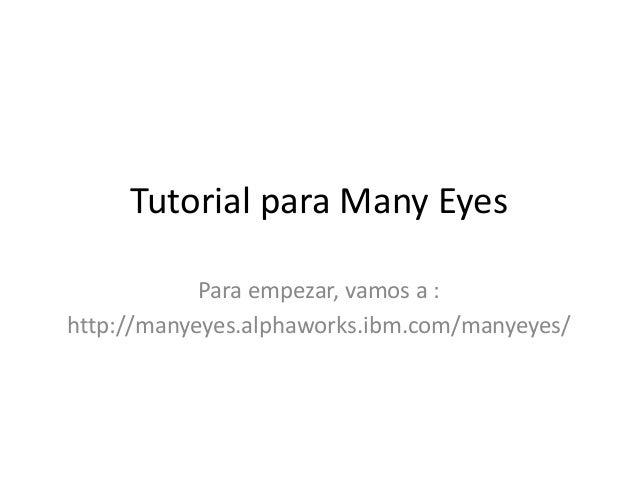 Tutorial para Many Eyes Para empezar, vamos a : http://manyeyes.alphaworks.ibm.com/manyeyes/