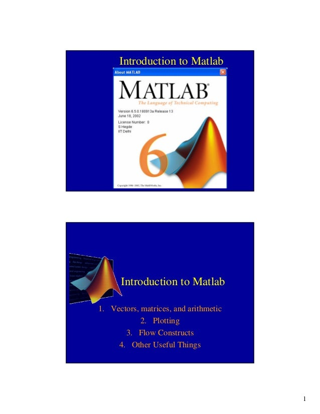 1Introduction to MatlabIntroduction to Matlab1. Vectors, matrices, and arithmetic2. Plotting3. Flow Constructs4. Other Use...