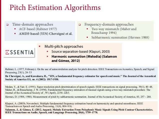 Pitch Estimation Algorithms q Time-domain approaches § ACF-based (Rabiner 1977) § AMDF-based (YIN) Cheveigné et al. q ...