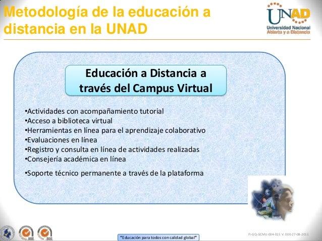 Metodología de la educación adistancia en la UNAD                   Educación a Distancia a                  través del Ca...