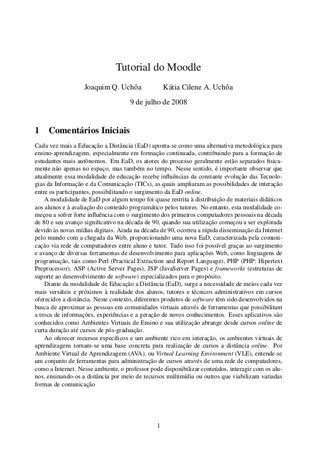 Tutorial do Moodle                   Joaquim Q. Uchôa                Kátia Cilene A. Uchôa                                ...