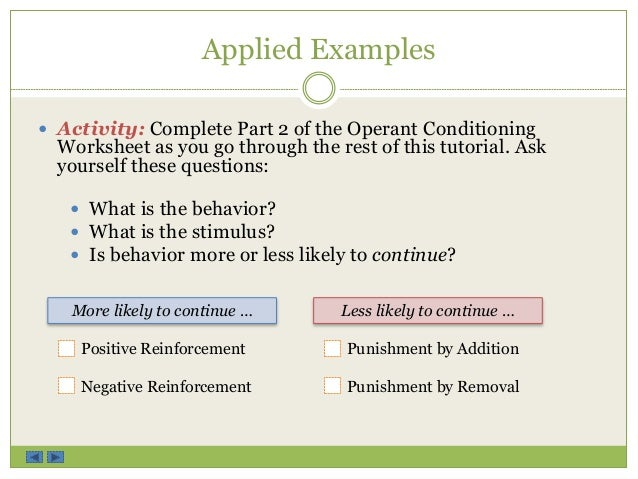 Operant Conditioning Tutorial – Operant Conditioning Worksheet Answers