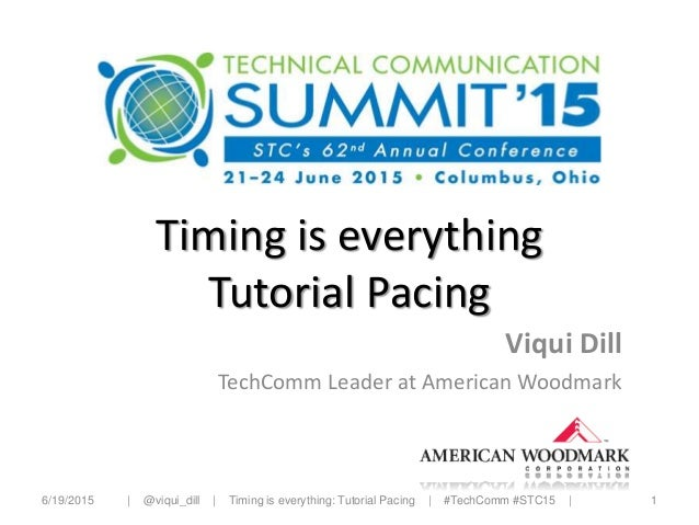 Timing is everything Tutorial Pacing Viqui Dill TechComm Leader at American Woodmark 6/19/2015 1  @viqui_dill   Timing is ...