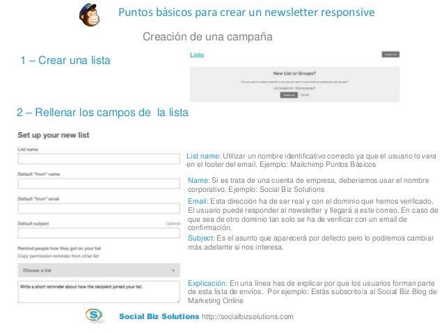 Tutorial para crear un newsletter responsive con Mailchimp Slide 3
