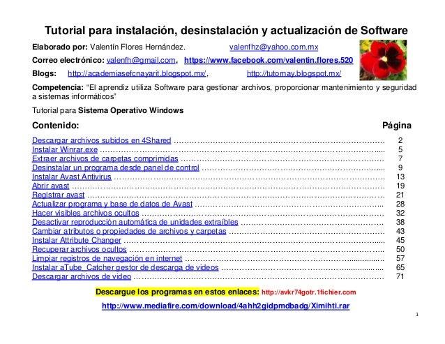 1 Tutorial para instalación, desinstalación y actualización de Software Elaborado por: Valentín Flores Hernández. valenfhz...