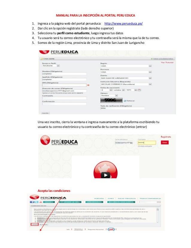 MANUAL PARA LA INSCIPCIÓN AL PORTAL PERU EDUCA1.   Ingresa a la página web del portal perueduca: http://www.perueduca.pe/2...