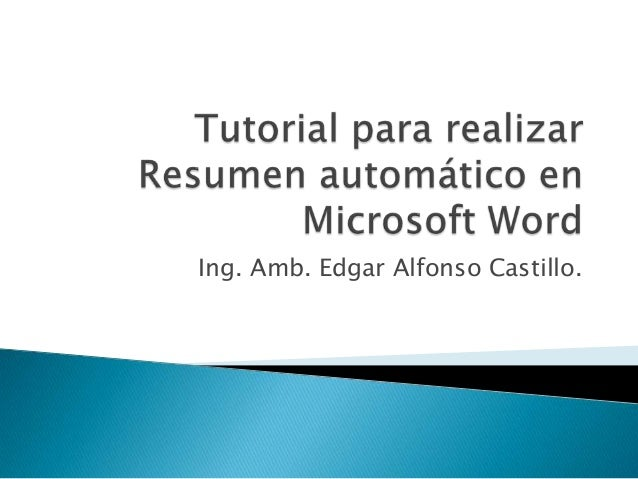 Ing. Amb. Edgar Alfonso Castillo.