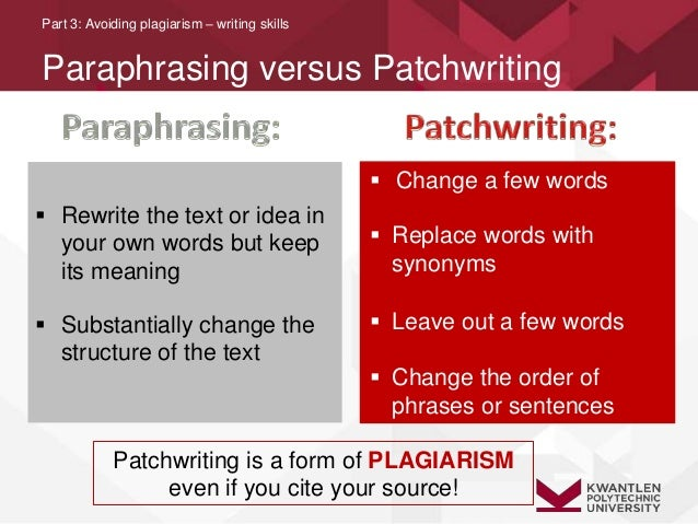 what is the difference between patchwriting and paraphrasing