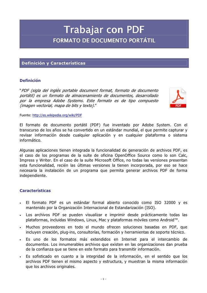 """Trabajar con PDF                     FORMATO DE DOCUMENTO PORTÁTIL    Definición y CaracterísticasDefinición""""PDF (sigla de..."""