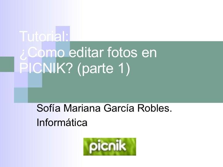 Tutorial:  ¿Como editar fotos en PICNIK? (parte 1) Sofía Mariana García Robles. Informática