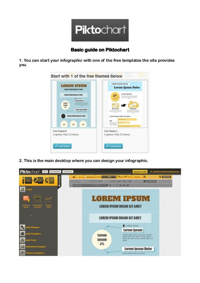 Basic guide on Piktochart1. You can start your infographic with one of the free templates the site providesyou.2. This is ...