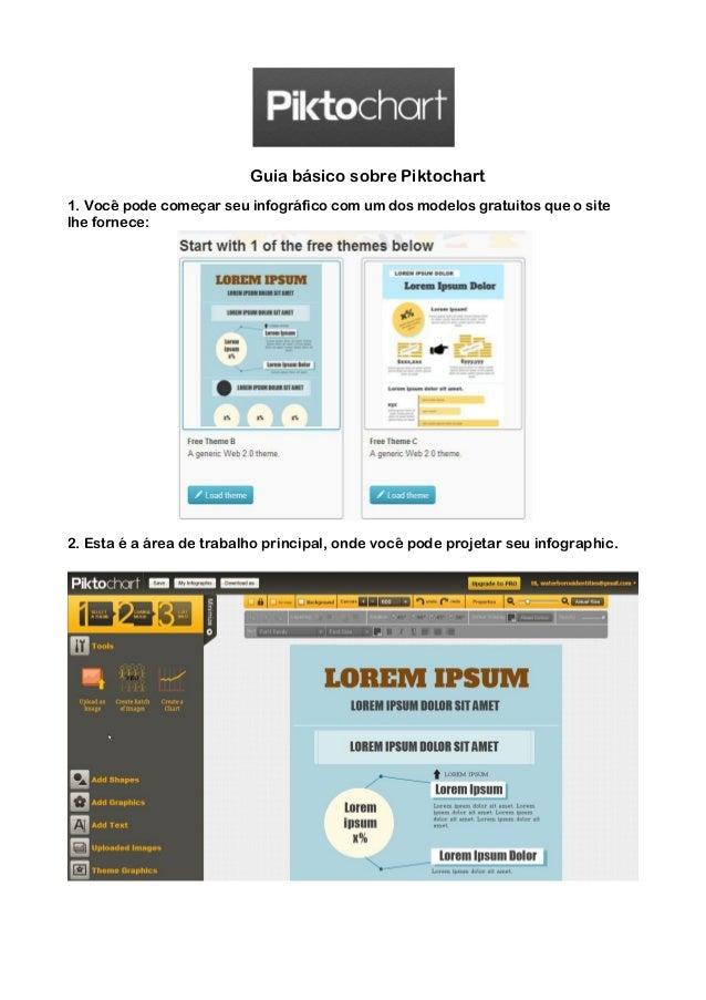 Guia básico sobre Piktochart 1. Você pode começar seu infográfico com um dos modelos gratuitos que o site lhe fornece: 2. ...