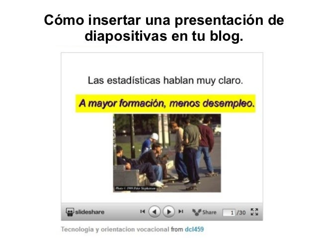 Cómo insertar una presentación de    diapositivas en tu blog.
