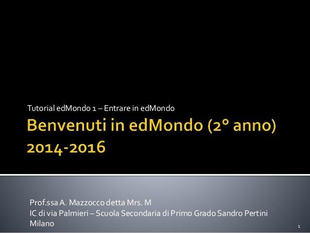 Tutorial edMondo 1 – Entrare in edMondo 1 Prof.ssaA. Mazzocco detta Mrs. M IC di via Palmieri – Scuola Secondaria di Primo...