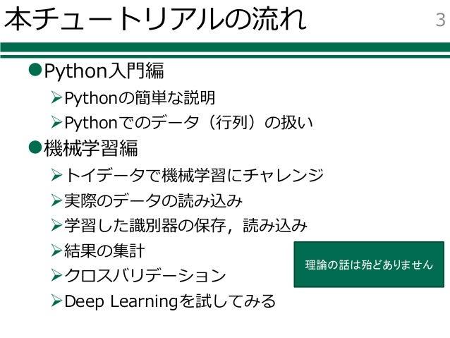 Pythonによる機械学習入門〜基礎からDeep Learningまで〜 Slide 3