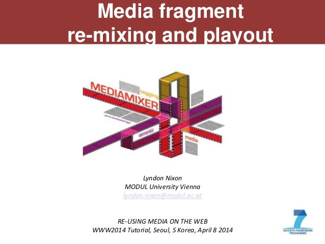 1 Media fragment re-mixing and playout Lyndon Nixon MODUL University Vienna lyndon.nixon@modul.ac.at RE-USING MEDIA ON THE...