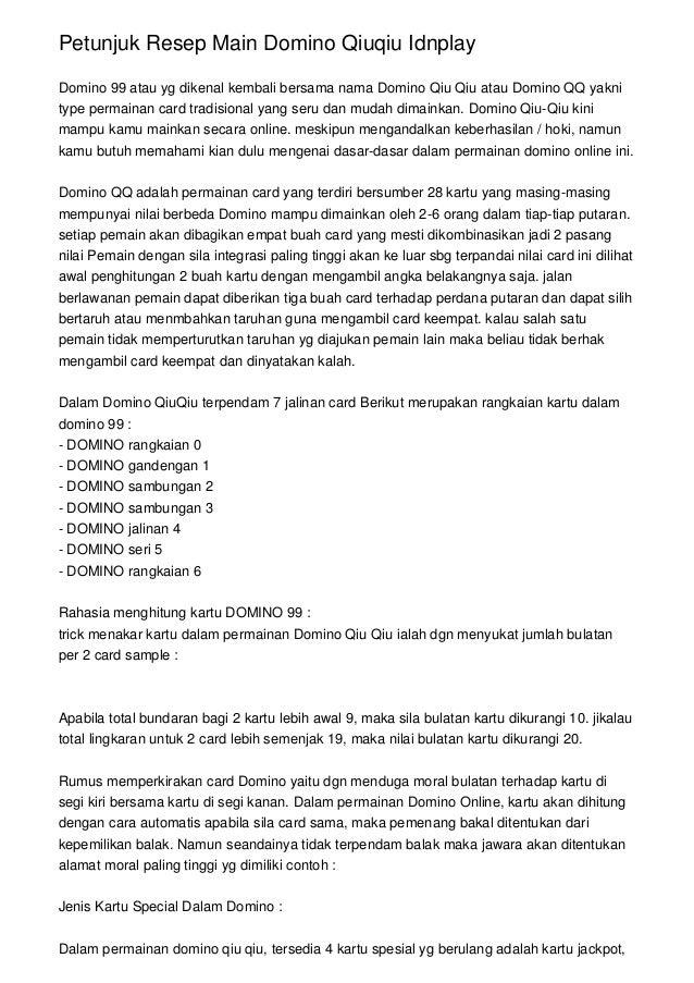 Petunjuk Resep Main Domino Qiuqiu Idnplay