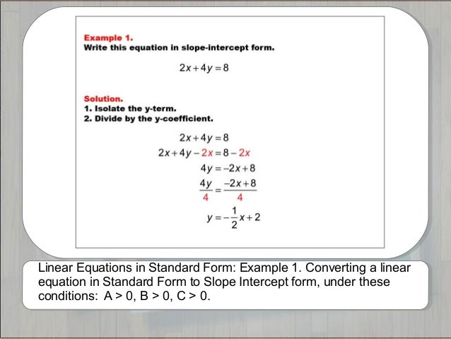 Tutorials Linear Equations In Standard Form