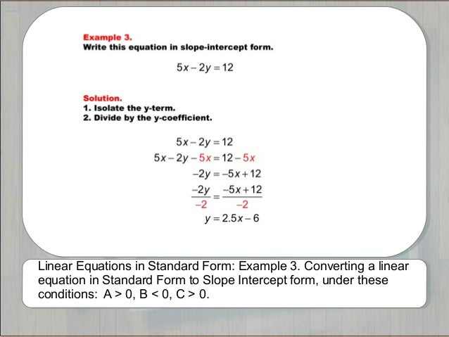 Tutorials: Linear Equations in Standard Form