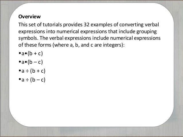 Tutorials The Language Of Math Numerical Expressions Grouping Sym
