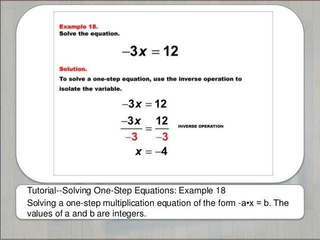 Tutorials--Solving One-Step Equations