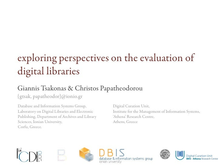 Exploring perspectives in digital library evaluation