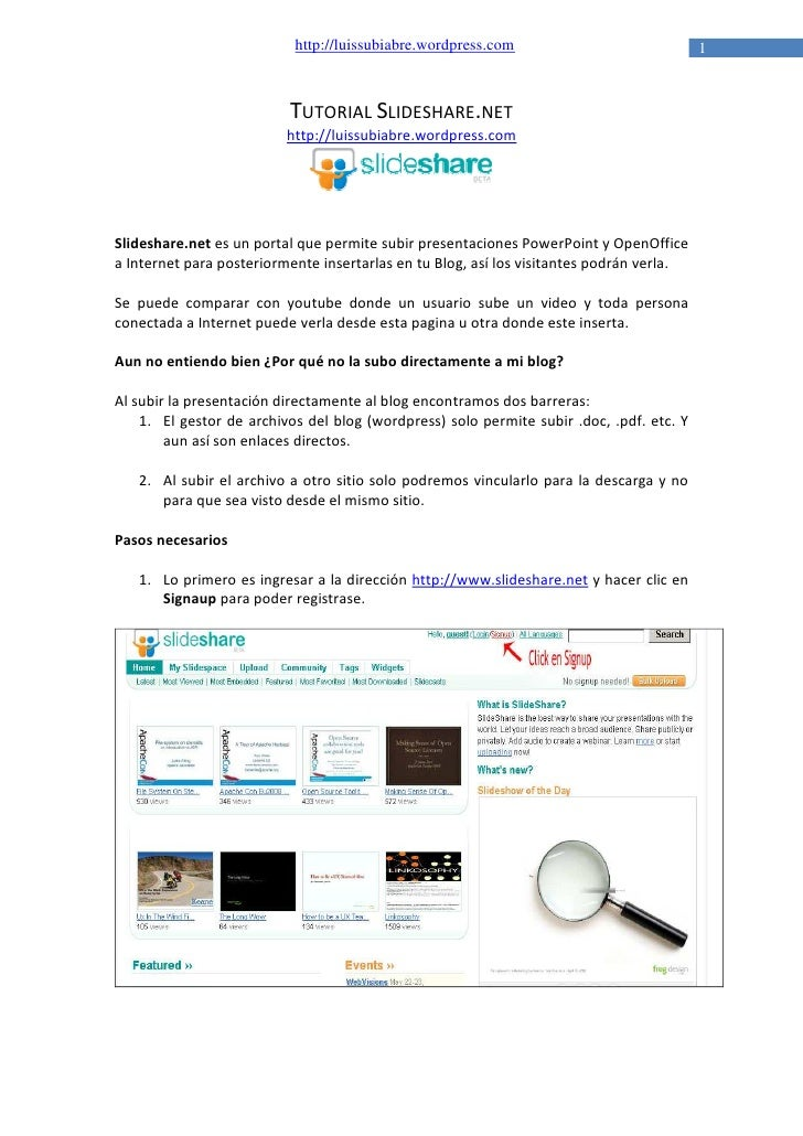 http://luissubiabre.wordpress.com                              1                              TUTORIAL SLIDESHARE.NET     ...