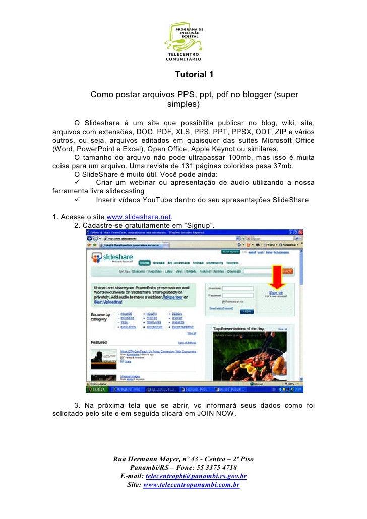 Tutorial 1             Como postar arquivos PPS, ppt, pdf no blogger (super                              simples)         ...