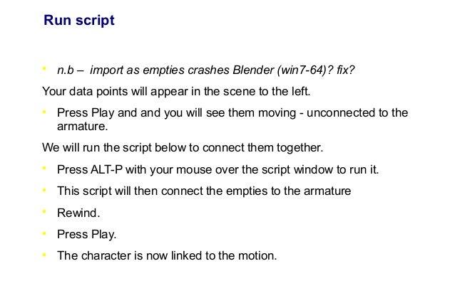 Tutorial slideshow import  bvh into blender