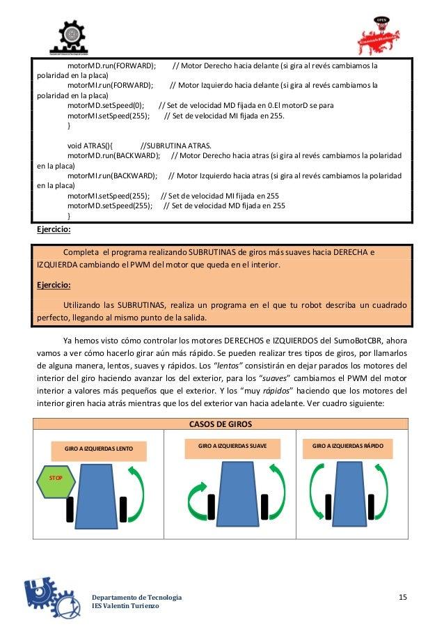 15Departamento de Tecnología IES Valentín Turienzo motorMD.run(FORWARD); // Motor Derecho hacia delante (si gira al revés ...