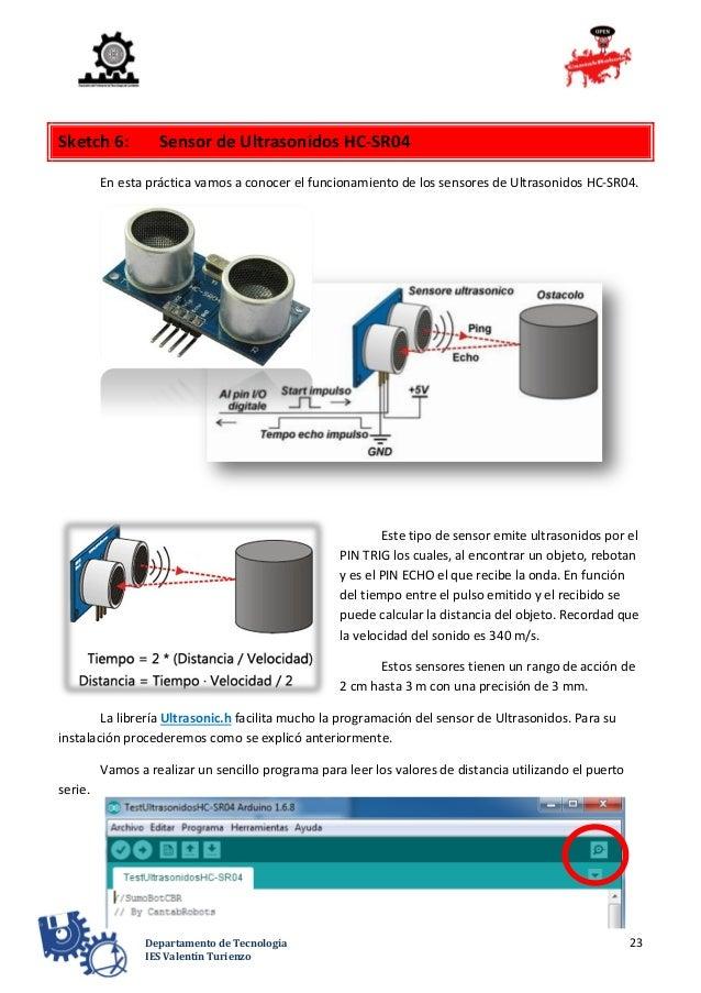 23Departamento de Tecnología IES Valentín Turienzo Sketch 6: Sensor de Ultrasonidos HC-SR04 En esta práctica vamos a conoc...