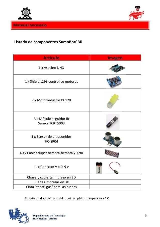3Departamento de Tecnología IES Valentín Turienzo Material necesario Listado de componentes SumoBotCBR Artículo Imagen 1 x...