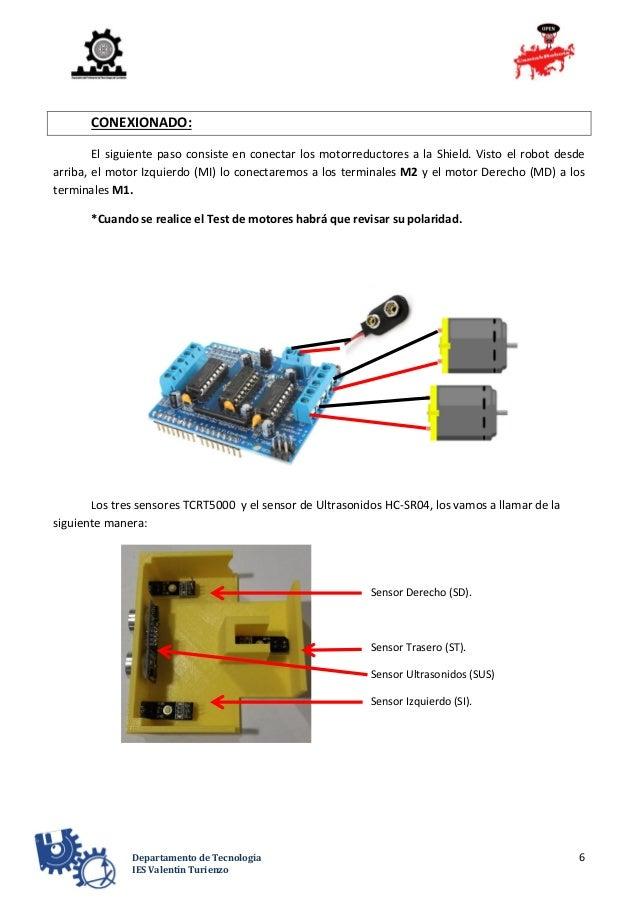6Departamento de Tecnología IES Valentín Turienzo CONEXIONADO: El siguiente paso consiste en conectar los motorreductores ...