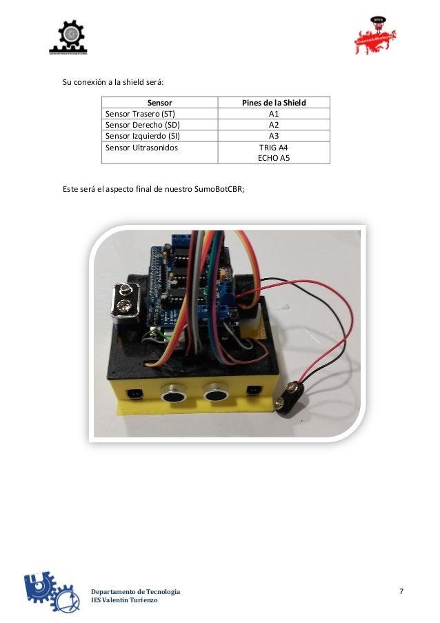 7Departamento de Tecnología IES Valentín Turienzo Su conexión a la shield será: Sensor Pines de la Shield Sensor Trasero (...