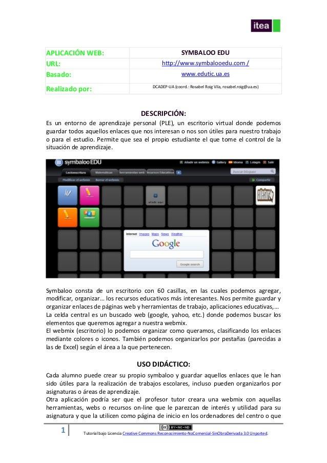 1 Tutorial bajo Licencia Creative Commons Reconocimiento-NoComercial-SinObraDerivada 3.0 Unported. APLICACIÓN WEB: SYMBALO...